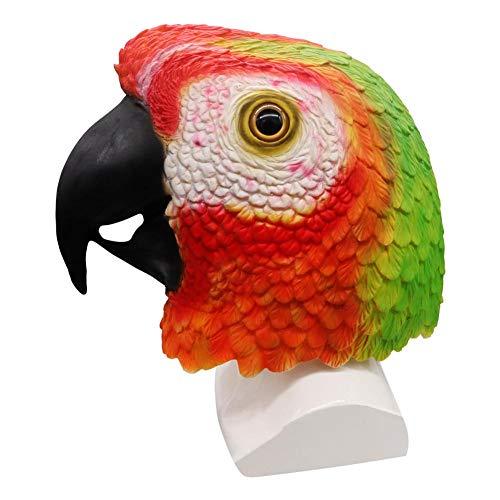 Vogel Kopf Kostüm - Ritapreaty Papagei Kopf Maske, Latex Tier Vogel Kopf Maske für Halloween kostüm Party Dekoration Cosplay kostüme Dekoration (rot)