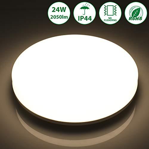 Oeegoo 24W LED Deckenleuchte Badezimmer, 2050lm superhell led deckenlampe, IP44 Wasserfest Flimmerfrei led deckenleuchte für Wohnzimmer Flur Küche Bad Schlafzimmer Balkon Korridor Büro usw, Runde.