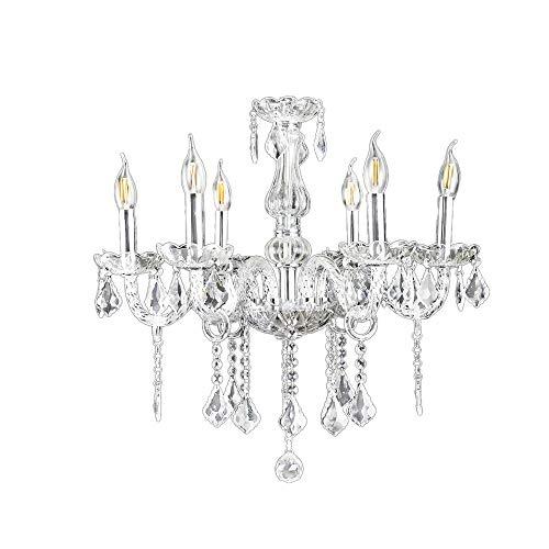 6-flammig Transparent Kristall Hängeleuchte Klassisch Kronleuchter Pendelleuchte Deckenleuchte antik Kristall Lüster E14 (Kristall-pendelleuchte)