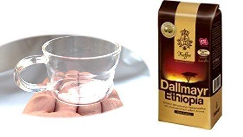 Dallmayr Ethiopia Kaffee ganze Bohnen + Design Glastasse, Kaffeetasse, Kaffee, Tasse, Glas, Espresso 100ml, 4er Pack im Geschenk Karton