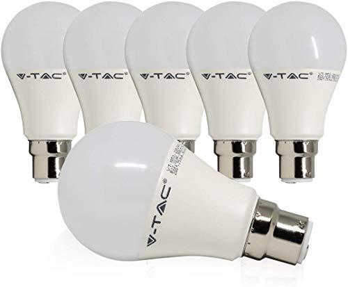 V-TAC B22 LED Bayonet Light Bulbs 75W Equivalent, 11W LED B22 BC Bulb, A60, Warm White(2700k) Frosted Globe GLS Bulb, Ultra Bright 1055Lm, Non-Dimmable, Energy Saving Light Bulbs, 6-Pack [Energy Class A+]