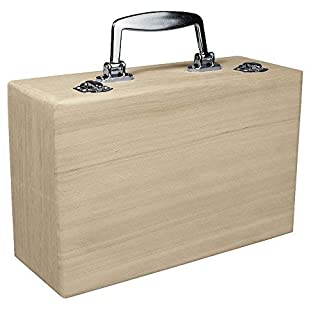 RAYHER HOBBY 6158000 Holz-Koffer 25x16x9 cm, Griff in Metalloptik, Scharniere aus Metall, Bastelkoffer, Holzkoffer ohne Inneneinteilung
