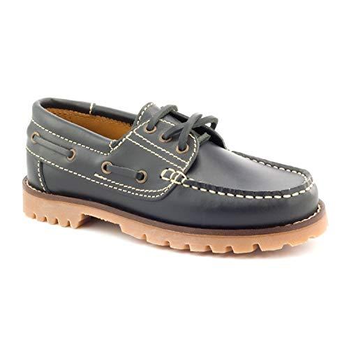 Boni Classic Shoes - Náuticos de Cuero para niño Azul Bleu Marine 32