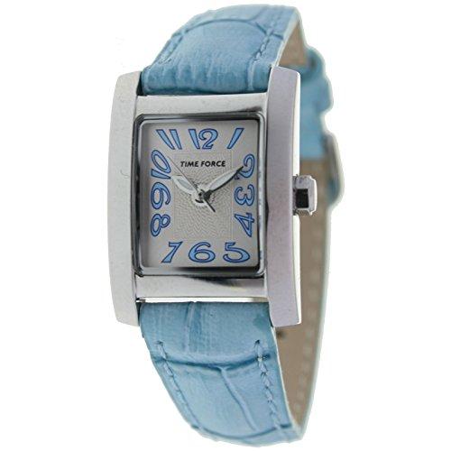 Time Force Montre pour femme avec bracelet en cuir bleu Cadran en argent TF-3081B03