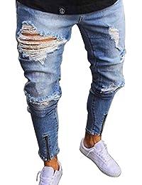 Bold Manner Herren Jeans Zerrissen Stretch Löcher Jeans Freizeit Deim Jeans 12d1566290