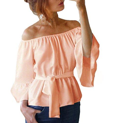 OverDose Damen Frauen Casual Loose Aus Schulter Fackel Ärmel Tops T-Shirt Bluse Hemd X-Khaki