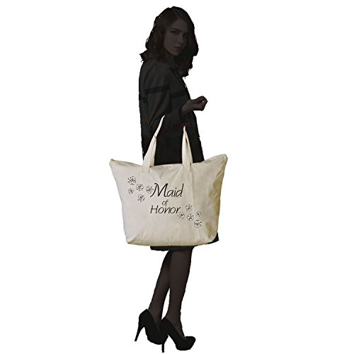 ElegantPark Bridesmaid Donne Shopper Naturale Tela 100% Cotone Tote Tote donne della spalla Mid borsa Sposa Maid of Honor