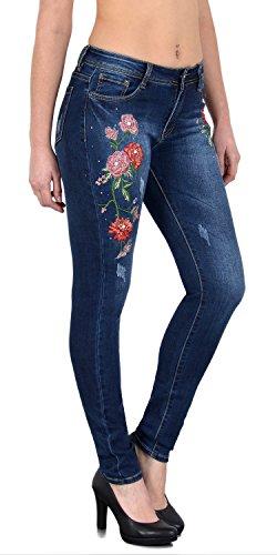 Rosen Stickerei (ESRA Damen Skinny Jeans mit Blumen Rosen Stickerei Jeanshose mit Blumenstick Slim Fit große Größen Z75)