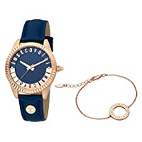 Just Cavalli Women's Blue Dial Leather Analog Watch & Bracelet Set - JC1L133L0025