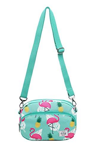 HotStyle MIETTE Mädchen Kleine Umhängetasche Geldbörse Kuriertasche | 22x15x4,5 cm, Flamingo, Minze