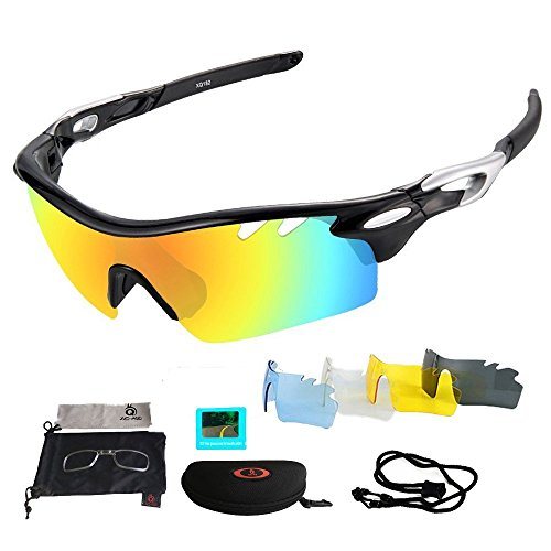 Sports Polarized Sunglasses, Cycling Running Skiing and Fishing Outdoor Glasses with 5 Sets of Lenses and 100% UV400 Protection (Black (5 Lenses))