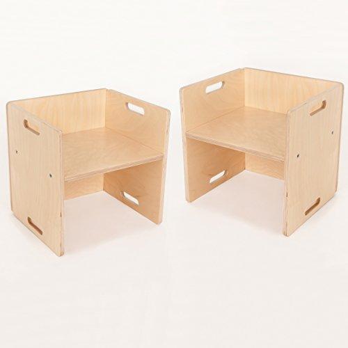 FLIXI Kindermöbel – 2 Kinderstühle im Set - Sitzgruppe aus Holz – mitwachsende Möbel mit Wendehocker – aus Birken-Multiplexholz