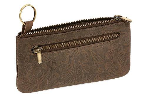 LEAS Pochette pour clés très grande taille ''motif de lys/fleurs, cuir véritable, marron Vintage-Collection'