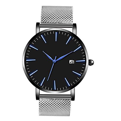 Jiameng orologio da polso, moda elegante orologio classico orologio da polso al quarzo analogico in lega a fascia con cinturino in tessuto cinturino in acciaio moda (argento)