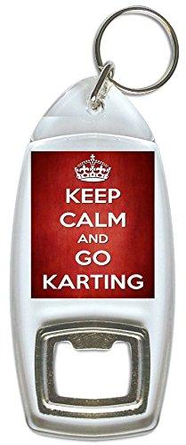 Pukka Printing Keep Calm and Go Karting-Flaschenöffner Schlüsselring
