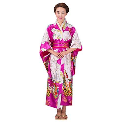 HHyyq Frauen Kirschblüten Anime Cosplay Lolita Kleid Japanischen Kimono Kostüm Kleider Kleidung Kimono Robe traditionelle japanische Kleidung Fotografie Cosplay Kostüm(Pink,)