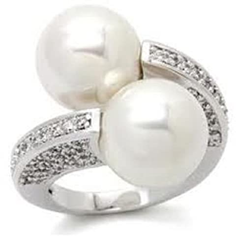 Yourjewellerybox P0W025Pb Designer Pearl Simulated Diamond Ring Womens Pave Set