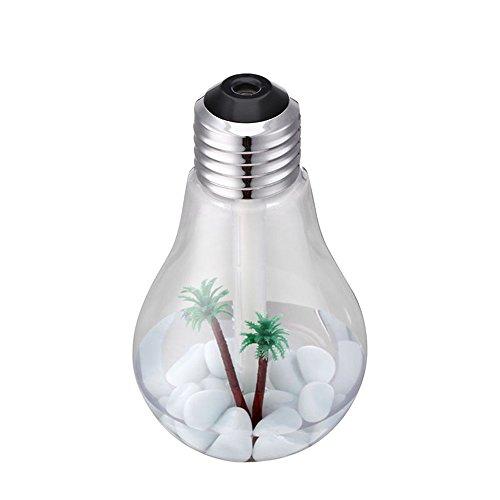Anself - Humidificador Ultrasónico Aromaterapia de Vapor, En Forma de Bulbo de Luz, 7 Colores LED Luces, 400ml