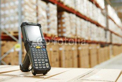 "Alu-Dibond-Bild 140 x 90 cm: ""barcode scanner at warehouse"", Bild auf Alu-Dibond"