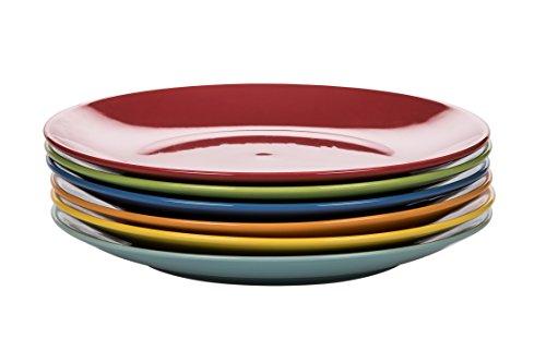 Kaleidos clásico Juego de 6Platos Llanos, Stoneware (Gres), Amarillo/Verde/Azul Azul/Naranja/Rojo, 27x 27x 10cm