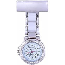 Censi Unisex Silver Diamante Bezel White Strap Nurse Tunic Brooch FOB Watch Analog Japanese Quartz Extra Battery
