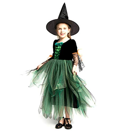 DONGBALA Cosplay-Kostüm, Hexenprinzessin Kleid Mädchen Kleines Hexenkleid Mit Hut Für Kinder 110-140Cm Programm Prom Dress Up Karneval Party Halloween - Kleine Hexe Teen Kostüm