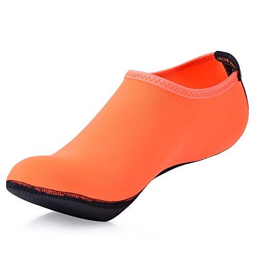 JACKSHIBO Unisex-Kinder Wasserschuhe Jungen Strandschuhe Aqua Schuhe Mädchen Schwimmschuhe Surfschuhe Badeschuhe, Kinder XL=190-200MM, Farbe: Orange