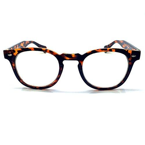 Preisvergleich Produktbild Neutrale Gläser KISS® - MOSCOT Stil inspiriert Johnny Depp - Brillen Rahmen Retro-Mann Frau unisex - HAVANNA