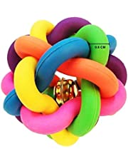 Rubber and Latex Squeaky Rainbow Woven Balls with Inner Bell Toys for Puppy and Kitten (Small)