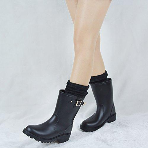 LvRao Frauen Hohe Ankle Wellington Stiefel Gummistiefel Damen Hoher Absatz Lange Gummistiefel Schwarz mit Socken