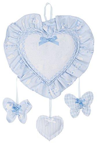 Filet - fiocchi nascita da bambino con pendagli i esterno 100% cotone interno 100% poliestere i prodotto realizzato in italia - azzurro