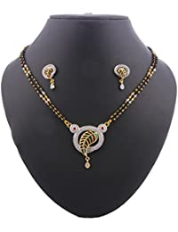 Glory Jewels Gold Plating Alloy Mangalsutra Set Studded With American Diamond And Meenakari