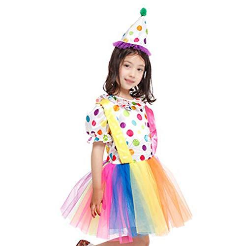 BESTOYARD Mädchen Hut und Kleid Set kinder Clown Kostüme Bälle Spielen Clowns Halloween Bühne Kostüme Festival Cosplay Größe XL