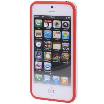 Wkae Case & Cover Transparent Plastic Bumper cadre avec des boutons pour iPhone 5 ( Color : Red ) Red