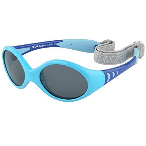 DUCO Kinder Sonnenbrille Polarisierte Sportbrille TPEE Flexibeles Gestell für Baby Mädchen oder Junge 0-24 Monate K012 (Blau) -