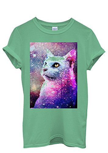 Galaxy Cat Grumpy Kitten Meow No Funny Men Women Damen Herren Unisex Top T Shirt Grün
