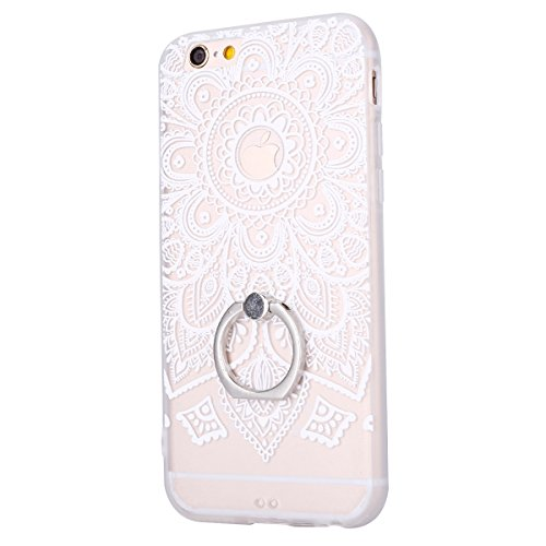 Cover iPhone 6/6S 4.7 Custodia,Ukayfe Elegante Sollievo Modello Design Particolari Gradiente Colore con 360 Degree Rotating Metallo Anello Ring Stand Holder Supporto Custodia in Gel TPU Silicone, Ultr Girasole(bianco)