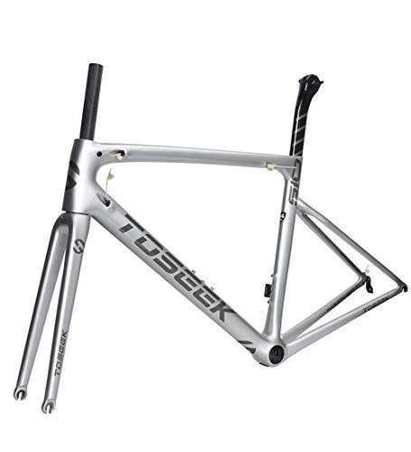 Rennrad Rahmen Carbon Fahrradrahmen Vollcarbon Rahmen 700C Carbonrahmen Sitzrohr Vordergabel Straße Rahmen Fahrradständer 44/49/52/54 / 56cm,56cm(sendbowl) - Fahrradständer Hinten