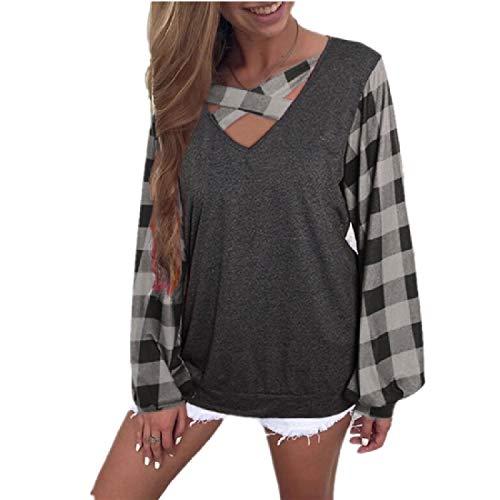 CuteRose Women Blouse Lounge Puff Sleeve Plaid Splice Fall Winter T-Shirt Top Grey XL -