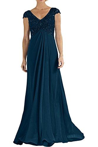 Charmant Damen Royal Blau Langes Abendkleider Abschlussballkleider mit Spitze Empire Etuikleider Navy Blau
