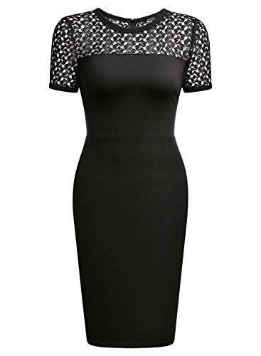 MIUSOL Damen Sommer Kleid Runhals Business Etuikleid Kurzarm Abendkleid Stretch Schwarz kleider Gr.XL -