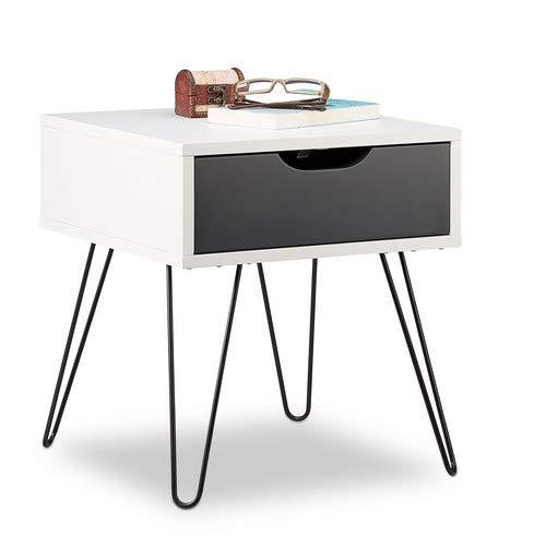 Relaxdays Nachttisch mit Schublade, modernes Design, eckiges Nachtschränkchen, HxBxT: 44 x 40 x 40 Zentimeter, weiß-grau, schwarz, Standard