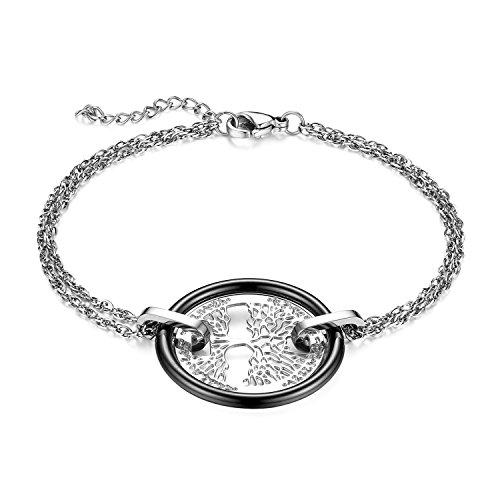 JewelryWe Schmuck Damen Armband, Edelstahl Hohle Baum des Lebens Armkette Charms Armreif mit Keramik Kreis Ring, verstellbare Größe, Schwarz Silber 02 (Schmuck Baum 5 Des Lebens Unter)