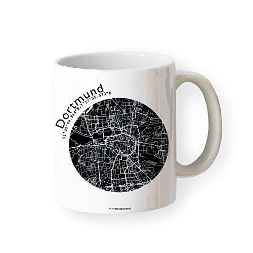 Tasse DORTMUND Stadtplan Karte Landkarte in 5 Farben, hochwertiger Becher Kaffeebecher Kaffeetasse, originelles Geschenk für Dortmunder, Schenken Souvenir Andenken Gelegenheiten von 44spaces