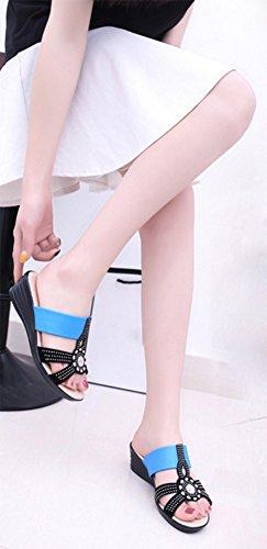 Mlle pente diamant Xia Ji avec des sandales et des pantoufles occasionnels pantoufles antidérapantes grands chantiers Blue