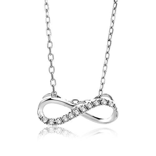 Orovi Kette für Damen Schmuck Weißgold 9 Karat/ 375 Gold Halskette Unendlichkeit Infinity Anhänger mit Diamant Brillanten 0.06 ct