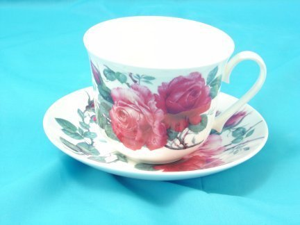 Extra Large English Rose Breakfast/Tea Cup & Saucer-Bone China by Roy Kirkham
