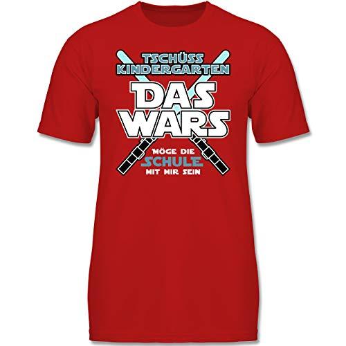 Einschulung und Schulanfang - Das Wars Kindergarten Blau - 104 (3-4 Jahre) - Rot - F130K - Jungen Kinder T-Shirt