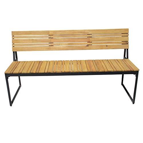 OUTLIV. Gartenbank Holz 2-Sitzerbank 150cm Stahl/Akazie Massivholz Sitzbank Terarssenbank Balkonbank Massiv