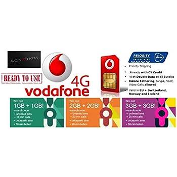 Prepaid Sim Karte Kostenlos.Bereits Aktiviert Vodafone Nl Prepaid Sim Karte Mit 5 Guthaben 4g Lte Europa Kostenlose 4g Daten Roaming In 31 Ländern Eu Ewr Incl Die